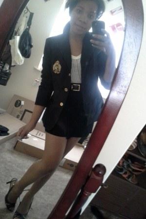 black varsity Ralph Lauren blazer - black herve leger skirt