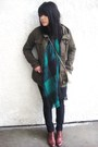 Black-forever-21-pants-green-vintage-scarf-brown-vintage-shoes-green-h-m-j