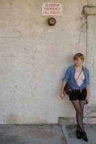blue H&M shirt - peach Primark top - black thrifted shorts - black H&M tights - 