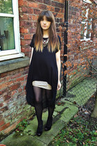 sparkle H&M skirt - dip hem River Island dress - studded new look heels