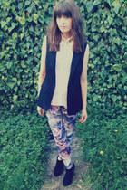 sleeveless H&M blazer - marble print Primark leggings - sheer H&M shirt