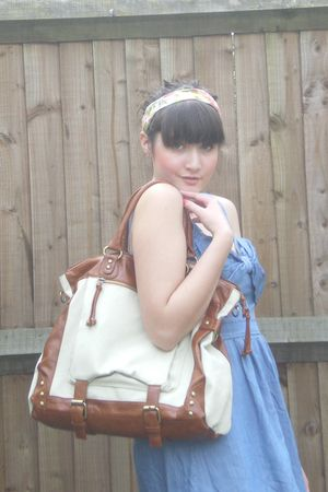 blue new look dress - orange H&M accessories - brown Forever 21 accessories - go