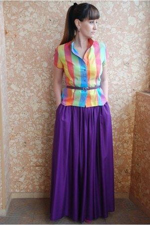 purple Zara skirt - purple Salvatore Ferragamo belt - orange no brand blouse - h