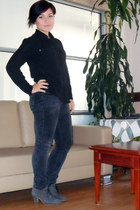 black Mango shirt - dark gray Forever 21 jeans - gray Mango boots