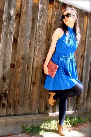 blue LA Made dress - navy See by Chloe tights - pink Beirn bag