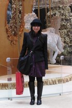 black H&M hat - blue dress - black purse - black Zara blazer - black Giordano La