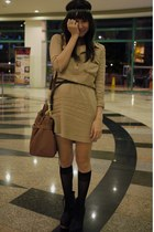 dark khaki WAGW dress - black wooden heeled Asian Vogue boots