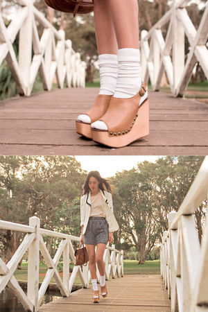 brown bag - white blazer - beige blouse - brown shoes - gray shorts - white sock