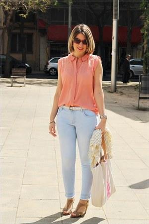 peach Mint&Berry blouse - eggshell imagine jacket - eggshell drbloom bag