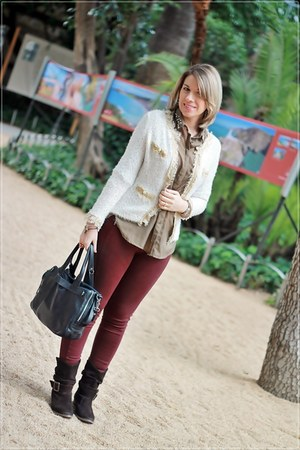 crimson Bershka leggings - ivory buylevard jacket - black hakei bag