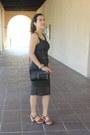 Gray-crochet-dress-black-leather-madewell-bag-gold-ruche-earrings