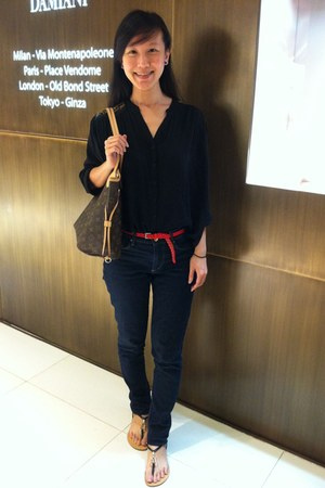black The velvet dolls blouse - navy H&M jeans - dark brown Louis Vuitton bag