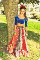 red sweet rocket 99 skirt - blue blue half shirt gypsy dancer shirt