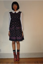 ruby red vintage boots - blue Anna Sui dress - ivory sweet rocket 99 shirt
