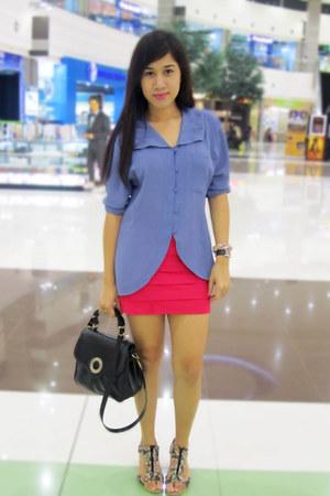 floral korean brand wedges - sky blue chiffon blouse