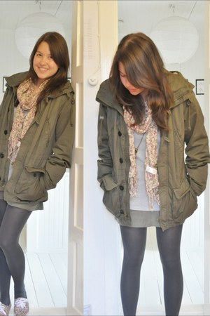 army green H&M jacket - dark gray Forever21 tights - light pink lindex scarf - a