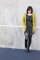 olive green chartreuse Mossimo cardigan - black polka-dotted H&M dress