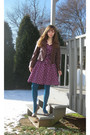 Brown-red-bbq-jacket-purple-h-m-logg-dress-blue-gap-tights-gray-jessica-si