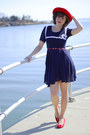 Navy-sailor-suger-dress-red-vintage-hat-nude-leggs-tights