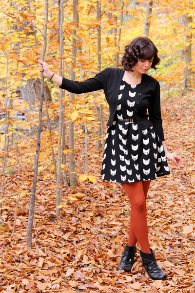 black Payless boots - black cat print H&M dress - black Take out sweater