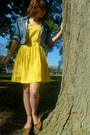 Blue-thrifted-denim-gap-jacket-yellow-delias-dress
