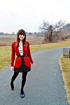 Forever 21 sweater - dotted American Eagle tights - bow print Forever 21 top