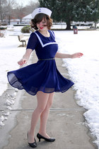 navy sailor Suger dress - white sailor CostumesUSA hat - nude tights