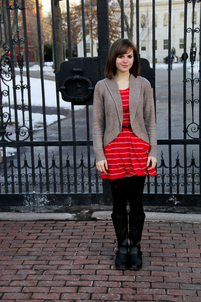 black Madden Girl boots - red striped Self Esteem dress - black leggings