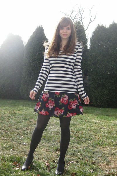 blue Forever 21 shirt - blue Forever 21 skirt - gray Apt 9 tights - brown Apt 9