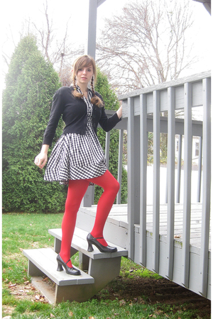 white H&amp;M dress - black kohls sweater - red tights - black Unlisted shoes - red 