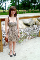 beige leopard print H&M dress - tan H&M purse - dark brown Gap flats