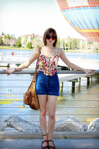brown Rialto wedges - light brown Forever 21 bag - navy vintage shorts