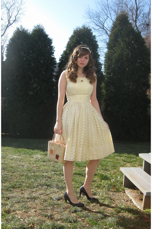 yellow dress - brown Apt 9 shoes - beige purse - white Forever 21 accessories -