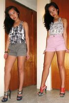 red asos shoes - blue asos shoes - gray Forever 21 top - silver Forever 21 top -
