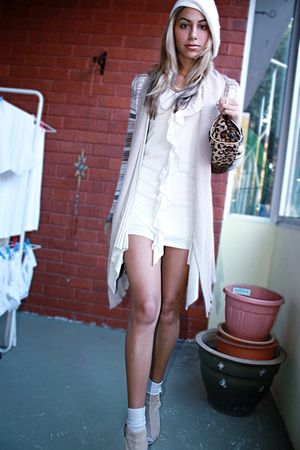 beige Urban Soul boots - yellow cardigan - brown accessories - white accessories