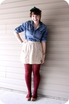 blue American Eagle shirt - neutral Kimichi Blue skirt - crimson Target tights -