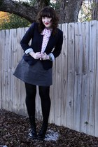 heather gray Urban Outfitters dress - white vintage blouse - navy JCrew blazer -