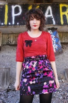 red H&M blouse - purple H&M skirt