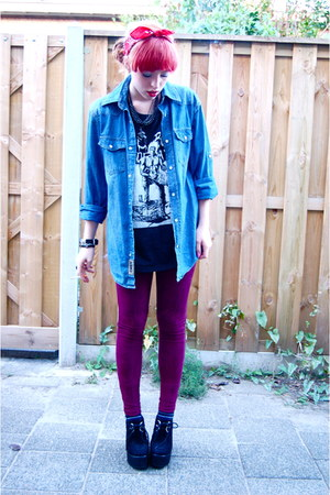 black band vintage top - crimson velvet Primark leggings