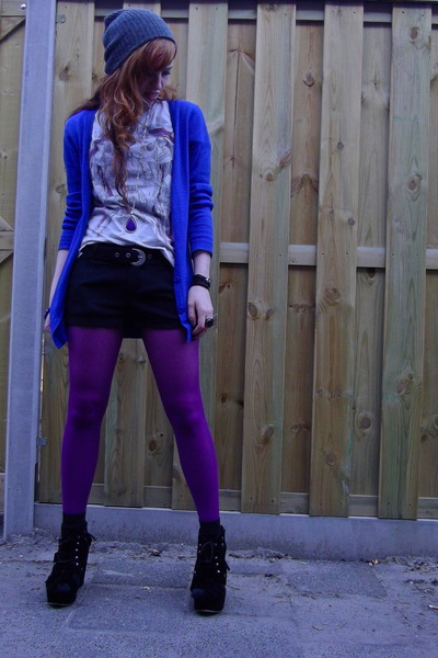 amethyst tights - dark gray suede V&D shorts - blue H&M cardigan