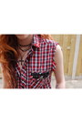 Black-studded-sascha-boots-ruby-red-checkered-diy-shirt