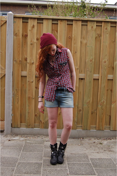 black studded Sascha boots - ruby red checkered DIY shirt