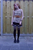 black Primark shoes - cream lace dress - camel Ebay belt