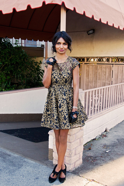 gold modcloth dress - black bow gloves gloves