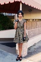 gold modcloth dress - black bow gloves gloves