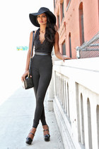 black fedora Bebe hat - black black Miu Miu heels