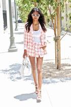 light pink dogtooth Missguided blazer - light pink dogtooth Missguided shorts