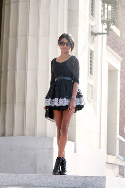 black petticoat aa skirt - black cat eye IVI Vision sunglasses