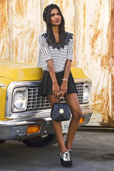 white crochet Topshop blouse - black circle American Apparel skirt