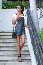 black leather forward to all romper - black suede forward to all heels